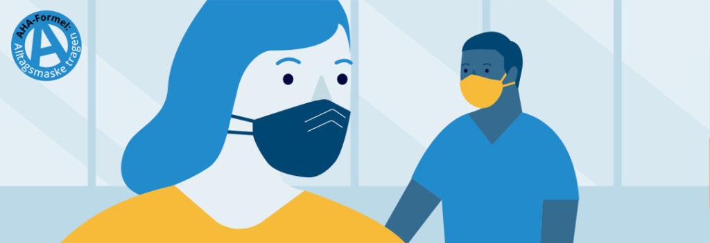 Grafik Aha-Formel Alltagsmasken. Zwei Figuren, die Masken tragen.