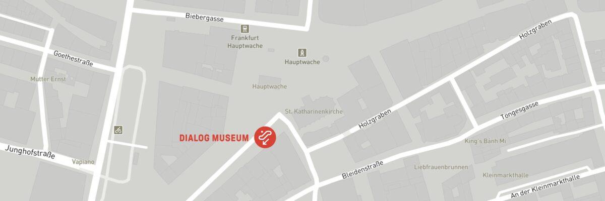 Karte der Hauptwache mit dem Standort DIALOGMUSEUM. Es befindet sich unterirdisch in der B-Ebene.